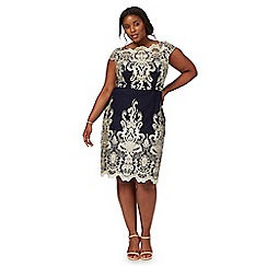 Chi Chi London - Navy 'Daliah' embroidered plus size dress