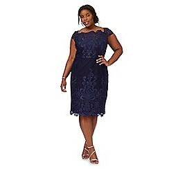 Chi Chi London - Navy 'Jourdana' embroidered plus size tunic dress