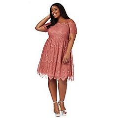Chi Chi London - Dark pink lace 'Renee' plus size dress