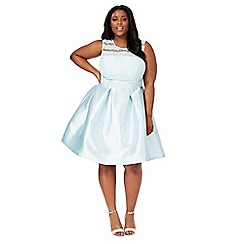 Chi Chi London - Light blue lace 'Avaya' knee length plus size prom dress