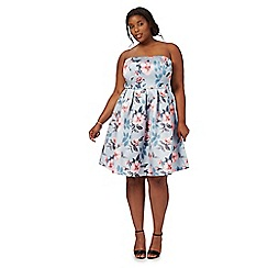 Chi Chi London - Grey 'Chelle' floral print plus size dress