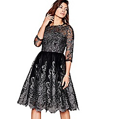 Chi Chi London - Black lace 'Lottie' half sleeves evening dress