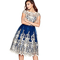 Chi Chi London - Navy lace mesh 'Yazzy' cap sleeves prom dress