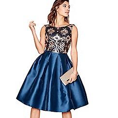 Chi Chi London - Blue sequin 'Delilah' sleeveless knee length evening dress