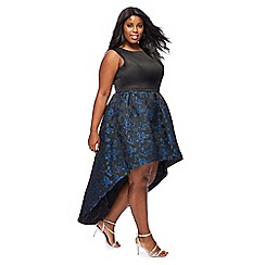 Chi Chi London - Black floral 'Marlene' high low plus size evening dress