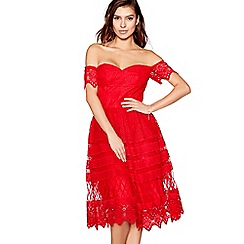 Chi Chi London - Red embroidered 'Maryam' bardot prom dress