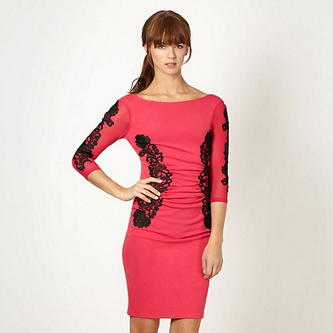 Lipsy - Bright pink lace trim dress