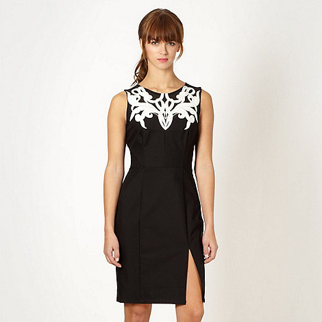 Lipsy - Black applique scroll bodice dress