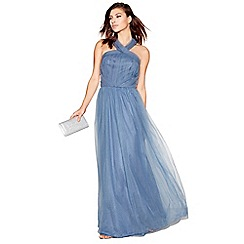 Chi Chi London - Blue organza 'Alessia' sleeveless tie neck maxi dress