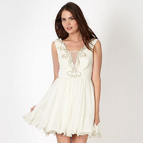 Lipsy - VIP cream pleated bodice flippy hem dress