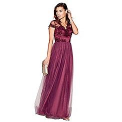 Chi Chi London - Red lace mesh 'Shan' sweetheart cap sleeves maxi dress