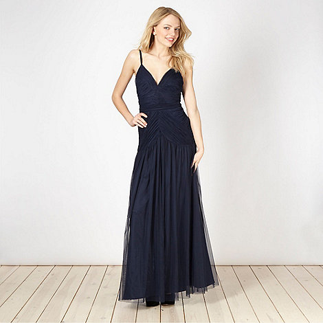 Lipsy - VIP navy ruched maxi dress