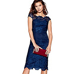 Chi Chi London - Navy lace 'Jourdanne' cap sleeves pencil dress