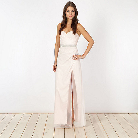 Lipsy - Pale pink mesh bustier maxi dress