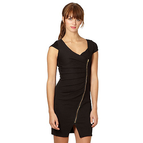 Lipsy - Black textured side zip dress