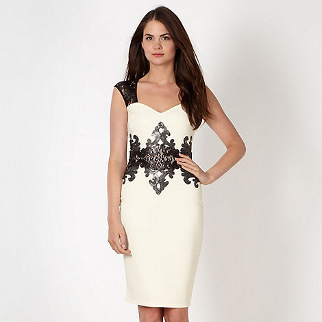Lipsy - Cream animal mesh insert dress