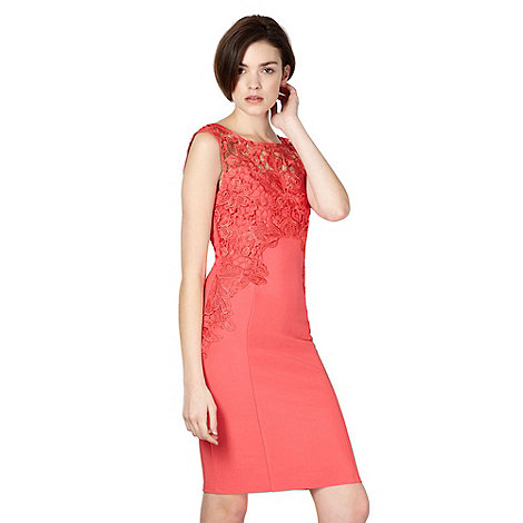Lipsy - Pink lace trim jersey dress