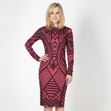 Lipsy - Dark pink metallic aztec jersey dress