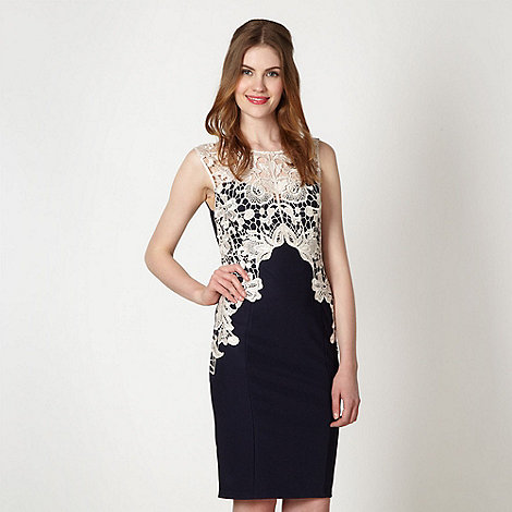 Lipsy - Navy lace jersey dress