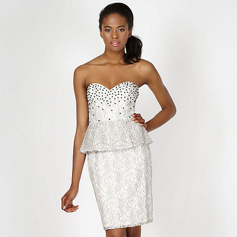 Lipsy - VIP cream embellished lace peplum dress