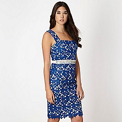 Lipsy - VIP dark blue embroidered lace dress