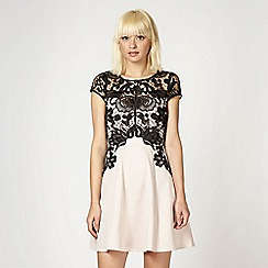 Lipsy - Pale pink lace overlay skater dress