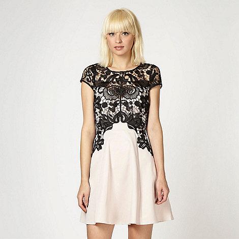 Lipsy - Pale pink lace overlay skater dress