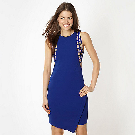 Lipsy - Dark blue mesh insert asymmetric dress