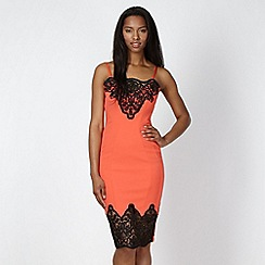 Lipsy - Peach lace trim slip dress