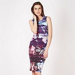 Lipsy - Purple palm print floral tube dress