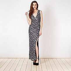 Lipsy - Navy metallic lace maxi dress
