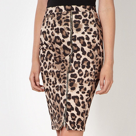 Lipsy - Kardashian Kollection natural animal print pencil skirt