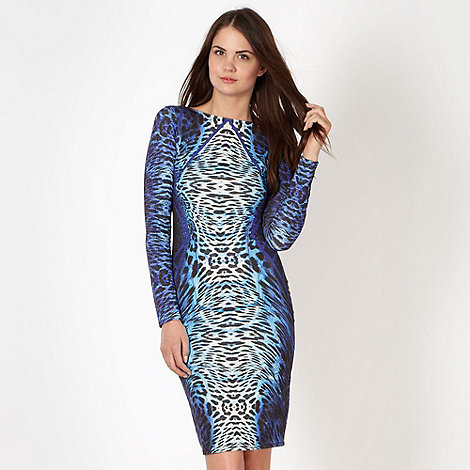 Lipsy - Kardashian Kollection blue animal print jersey tube dress