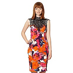 Lipsy - Kardashian Kollection orange crochet trim flower dress