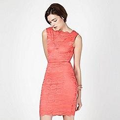Lipsy - Bright coral lace bodycon dress