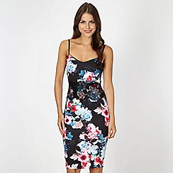 Lipsy - Black scuba floral lace waist dress