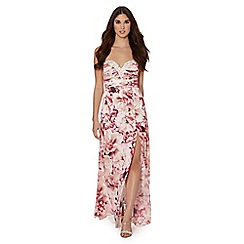 Lipsy - VIP pink floral strapless embellished bodice dress