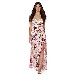 Lipsy - VIP pink floral strapless embellished bodice dress
