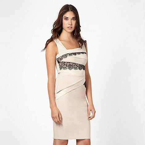 Lipsy - Beige panel bodycon dress
