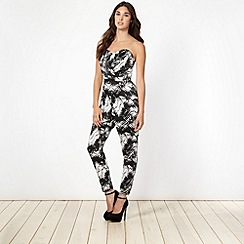 Lipsy - Kardashian Kollection black palm print jumpsuit