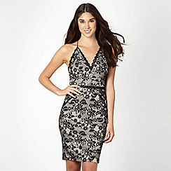 Lipsy - Kardashian Kollection black lace V neck dress