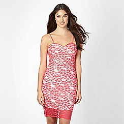 Lipsy - Kardashian Kollection coral leaf lace dress