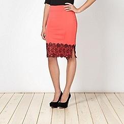 Lipsy - Kardashian Kollection orange lace trim scuba skirt