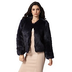 Lipsy - Michelle Keegan Loves Lipsy navy short faux fur jacket
