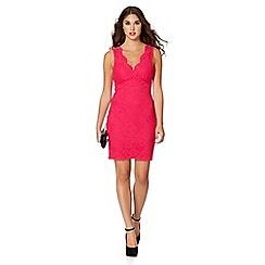 Lipsy - Dark pink lace bodycon dress