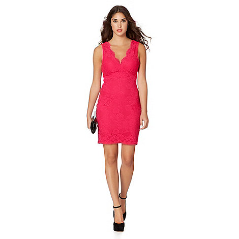 Lipsy - Dark pink lace bodycon dress