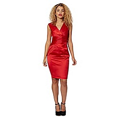 Lipsy - Red pleated V neck shift dress