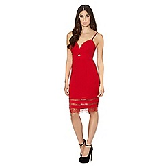 Lipsy - Michelle Keegan loves lipsy red crepe lace insert dress