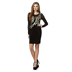 Lipsy - Black embroidered mesh insert dress