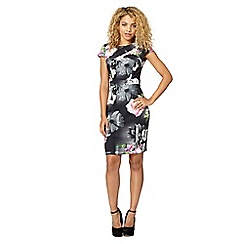 Lipsy - Black floral print pleat dress